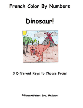 French Dinosaur Color by Numbers