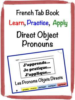French Direct Object Pronouns Tab Book