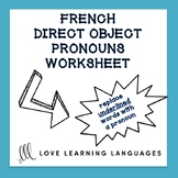French Direct Object Pronouns Worksheet - Complément d'Obj