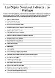 French Direct and Indirect Object Pronouns Homework