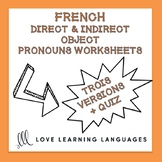 French Direct and Indirect Object Pronouns Worksheets - CO