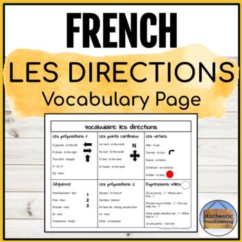French Directions Vocabulary Page