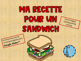French Distance Learning Writing Activity Mon Sandwich for