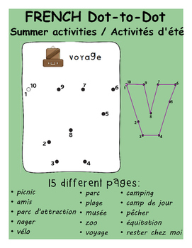 French Dot-to-Dot Summer Activities / Les activités d'été