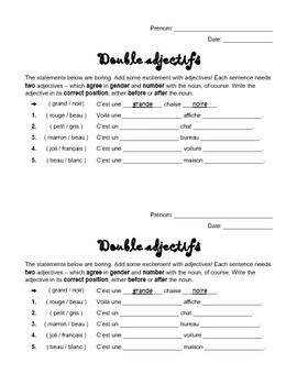 French Double Adjectives Worksheet  - Before (B.A.G.S.) & After Nouns