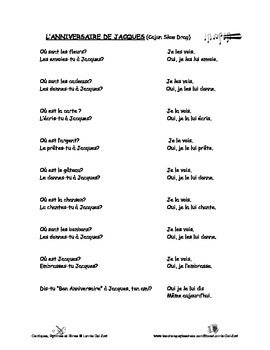 French Double Object Pronouns –French rap-like Chant with Exercises and Mp3