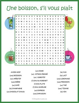 French Drinks Vocabulary Word Search: Les Boissons