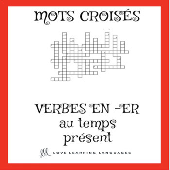 French -ER, -IR, -RE verbs crossword puzzles - Present tense bundle