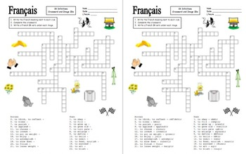 French ER, IR, and RE Verbs Crossword Puzzles, Image IDs, and Verb Lists