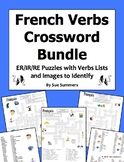 French ER, IR, and RE Verbs Crossword Puzzles, Image IDs, and Verb Lists Bundle