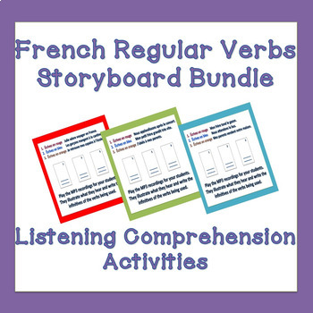 French ER, IR and RE Verbs Storyboard Listening Comprehension Activities Bundle