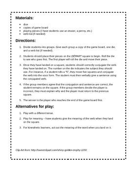 French -ER Verb Conjugation Board Game (Present Tense)