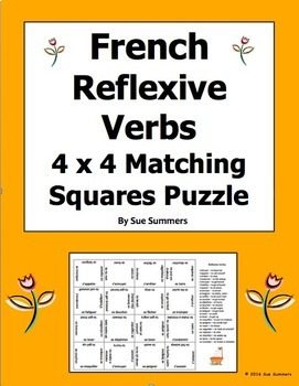 French Reflexive Verbs 4 x 4 Matching Squares Puzzle