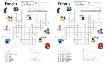 French ER Verbs Crossword Puzzle, Image IDs, and Verb Lists