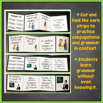 French ER Verbs Interactive Notebook Trifold Flashcards