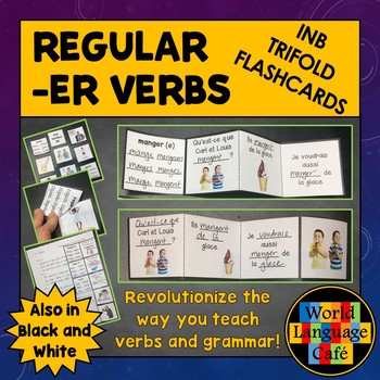 French ER Verbs Flashcards, Interactive Notebook Trifold Flashcards