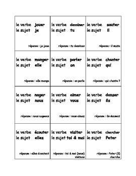 French ER verb conjugation game