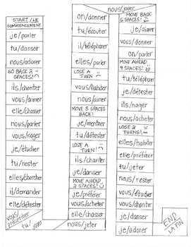 French -ER verbs board game