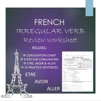 French: ETRE, AVOIR & ALLER REVIEW WORKSHEET