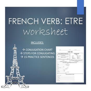 French ETRE VERB Worksheet for Beginners