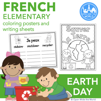 French Earth Day Coloring Posters & Writing Sheets - la jo