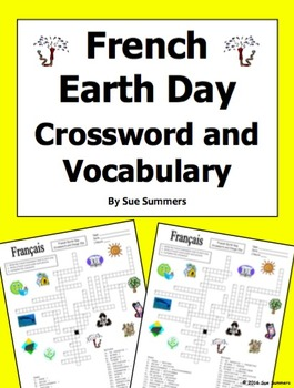 French Earth Day Crossword, Image IDs, and Vocabulary List