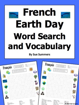 French Earth Day Word Search Puzzle and Vocabulary List