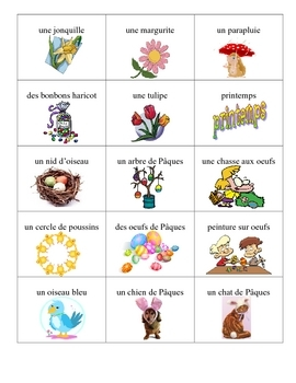 French  Easter Bingo Game