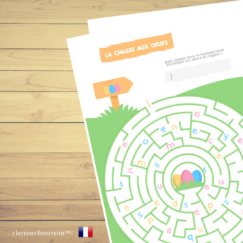 image relating to Easter Maze Printable named French Easter Egg Hunt Maze Worksheet Printable Recreation