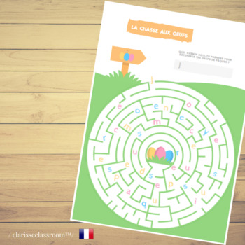 image regarding Easter Maze Printable identify French Easter Egg Hunt Maze⎜Worksheet⎜Printable Activity