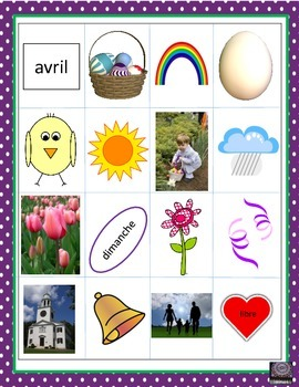 (French) Easter – Pâques – Loto (Bingo) Game