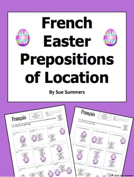 French Easter Prepositions of Location Easter Bunny and Egg - Lapin de Pâques