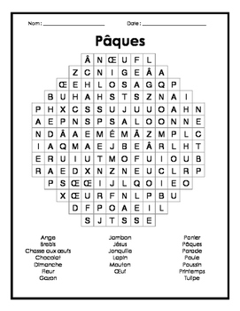 french easter word search mots cach s fran ais sur p ques tpt. Black Bedroom Furniture Sets. Home Design Ideas