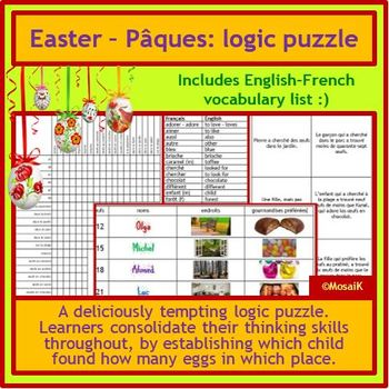French Pâques Easter - logic puzzle, thinking skills