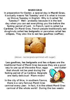 French Easter reading - Mardi Gras