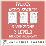 French Easter religious theme word search printables-3 levels-Pâques mots cachés