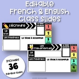 French & English EDITABLE Class Slides