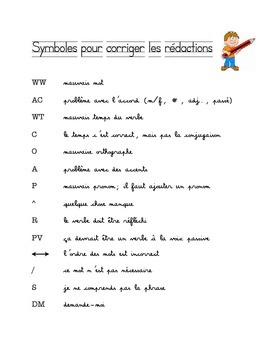 French Editing Symbols for Writing Revision