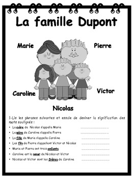 french elementary unit 4 la famille by anasantos tpt. Black Bedroom Furniture Sets. Home Design Ideas