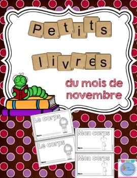 French Emergent reader November mini-books/Les petits livres du mois de novembre