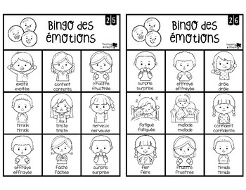French Emotions Bingo Game - Bingo des Émotions - Black & White