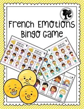 French Emotions Bingo Game - Bingo des Émotions - Colour