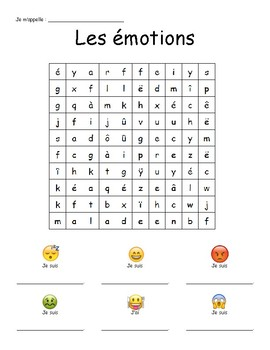 emoij themed french emotions word search mots meles emotions tpt. Black Bedroom Furniture Sets. Home Design Ideas