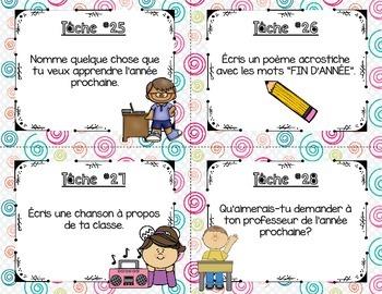 French End of Year Task Cards - 32 cartes à tâches pour la fin d'année!