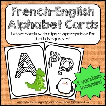 French English Alphabet / Bilingual Letter Cards