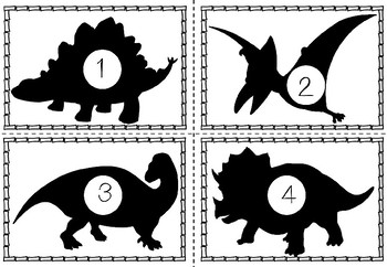 French & English Dinosaur Themed Counting Match