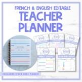 Editable Teacher Planner - French & English, UNDATED | Pla
