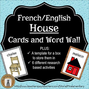 French / English Home Flashcards and Word Wall