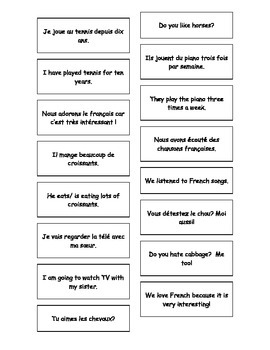 French Teaching Resources. French - English Cards: -Er verbs: Present Tense.
