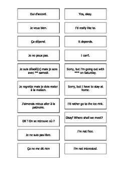 Teaching Resources:  French - English Cards: Reactions to being asked out.